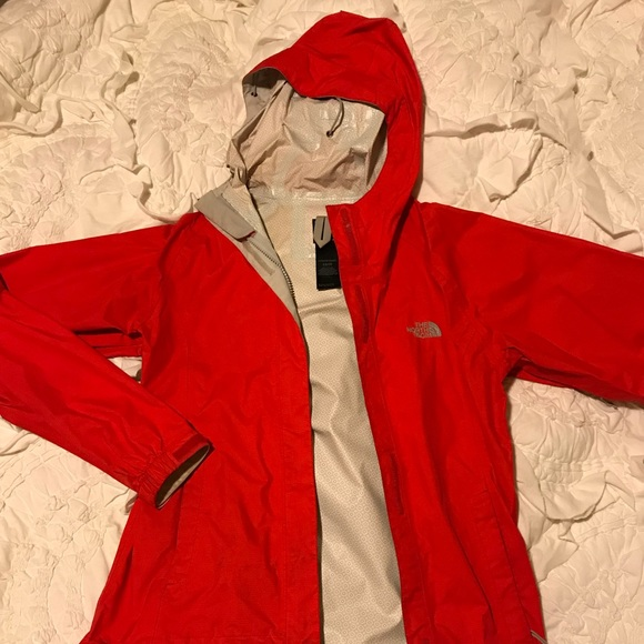 05a39a658 Red North Face Rain Coat